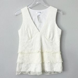 WHBM NWT Lace Tiered Sleeveless Top in Sz M